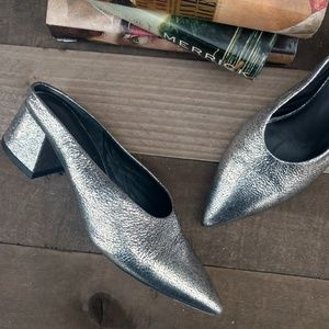 VINCE Eaton Metallic Crackled Leather Mules